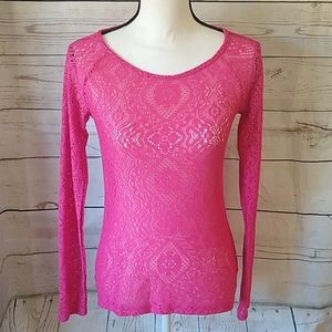 Mudd hot pink long sleeved lace top